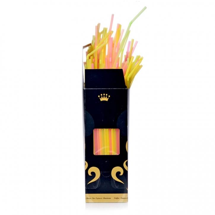Flexible Trinkhalme Neon Ø5x240mm, 350 Golden Cups Display