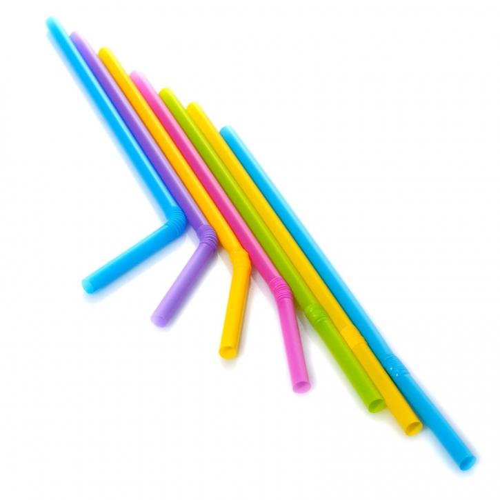 Jumbo Strohhalme Trinkhalme Flexible Bunt 25cm 1.000Stk