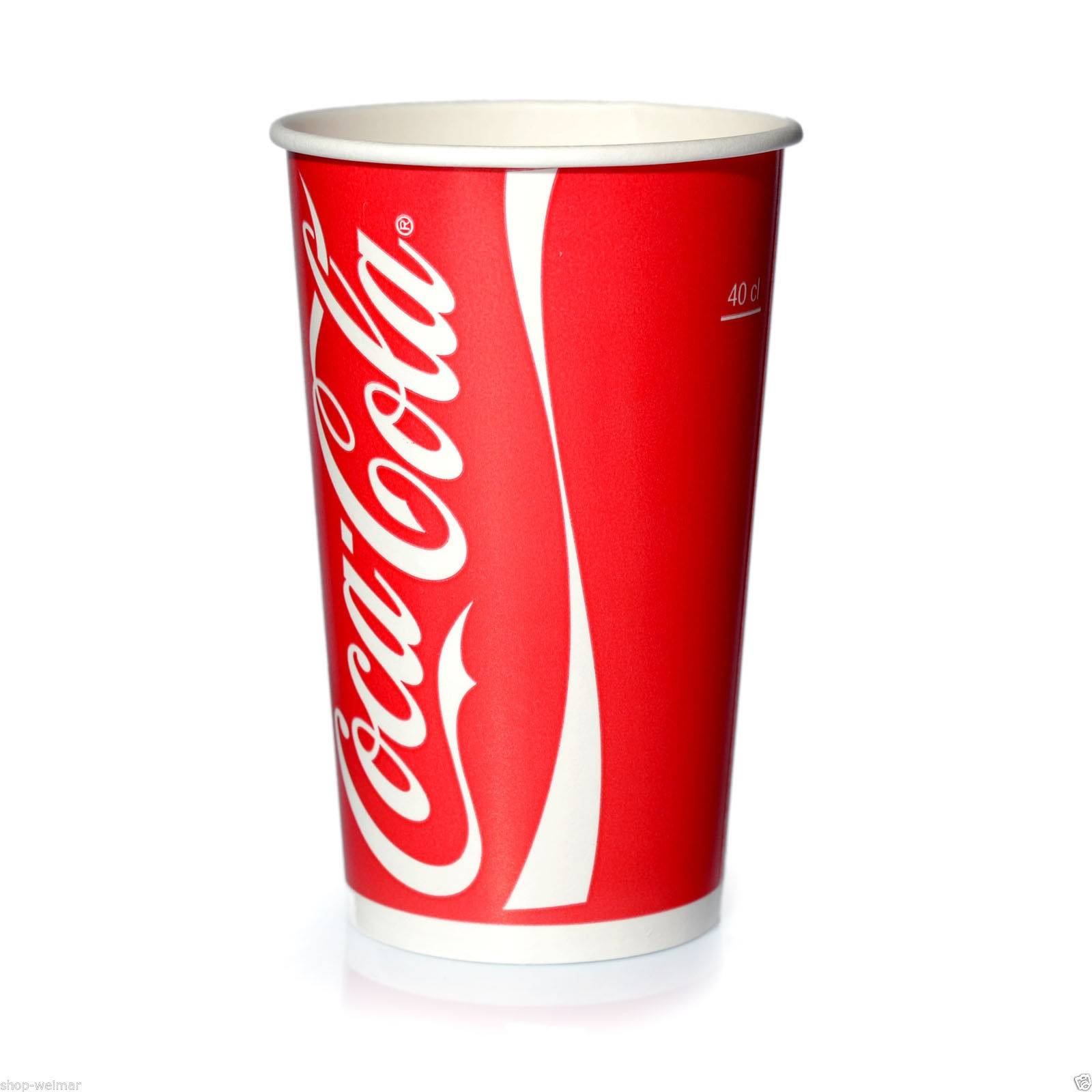 coca cola becher 0 4 l pappbecher trinkbecher 50 kaltgetr nkebecher 400 ml ebay. Black Bedroom Furniture Sets. Home Design Ideas