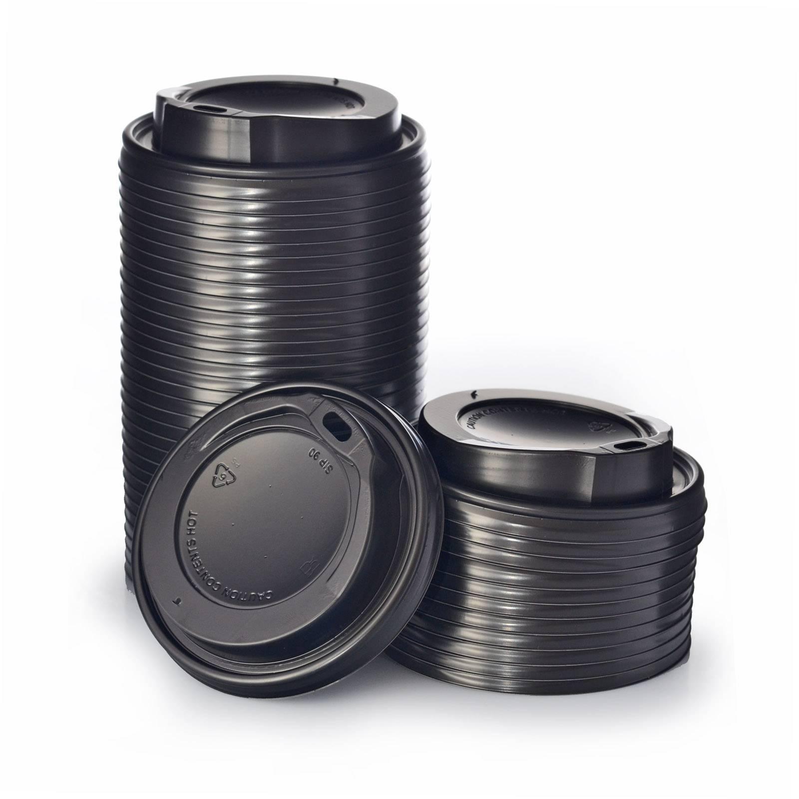 schwarz mit Trinkloch 500 Stück Deckel für Coffee to go Becher Ø 90 mm