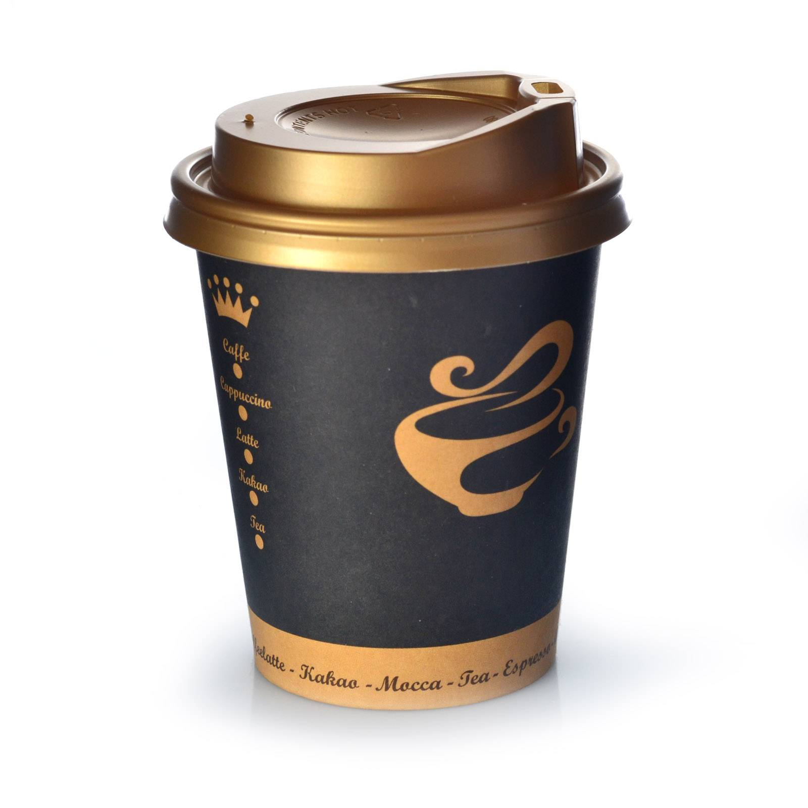 Coffee to go becher golden cup 0 2l mit deckel gold 200 stk for Coffee to go