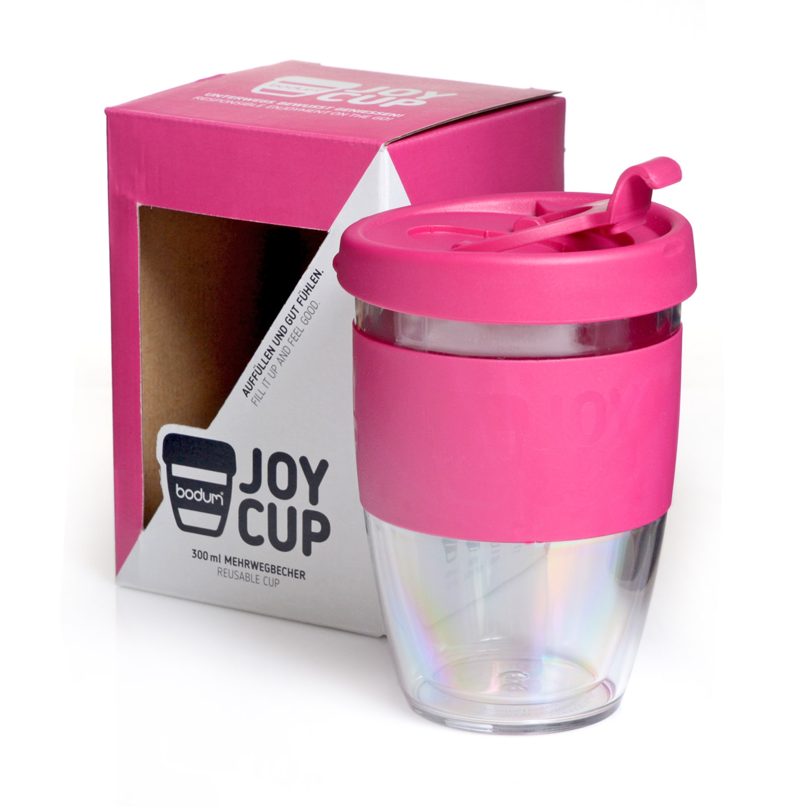 coffee to go becher 0 3 l mehrwegbecher joy cup pink mit. Black Bedroom Furniture Sets. Home Design Ideas