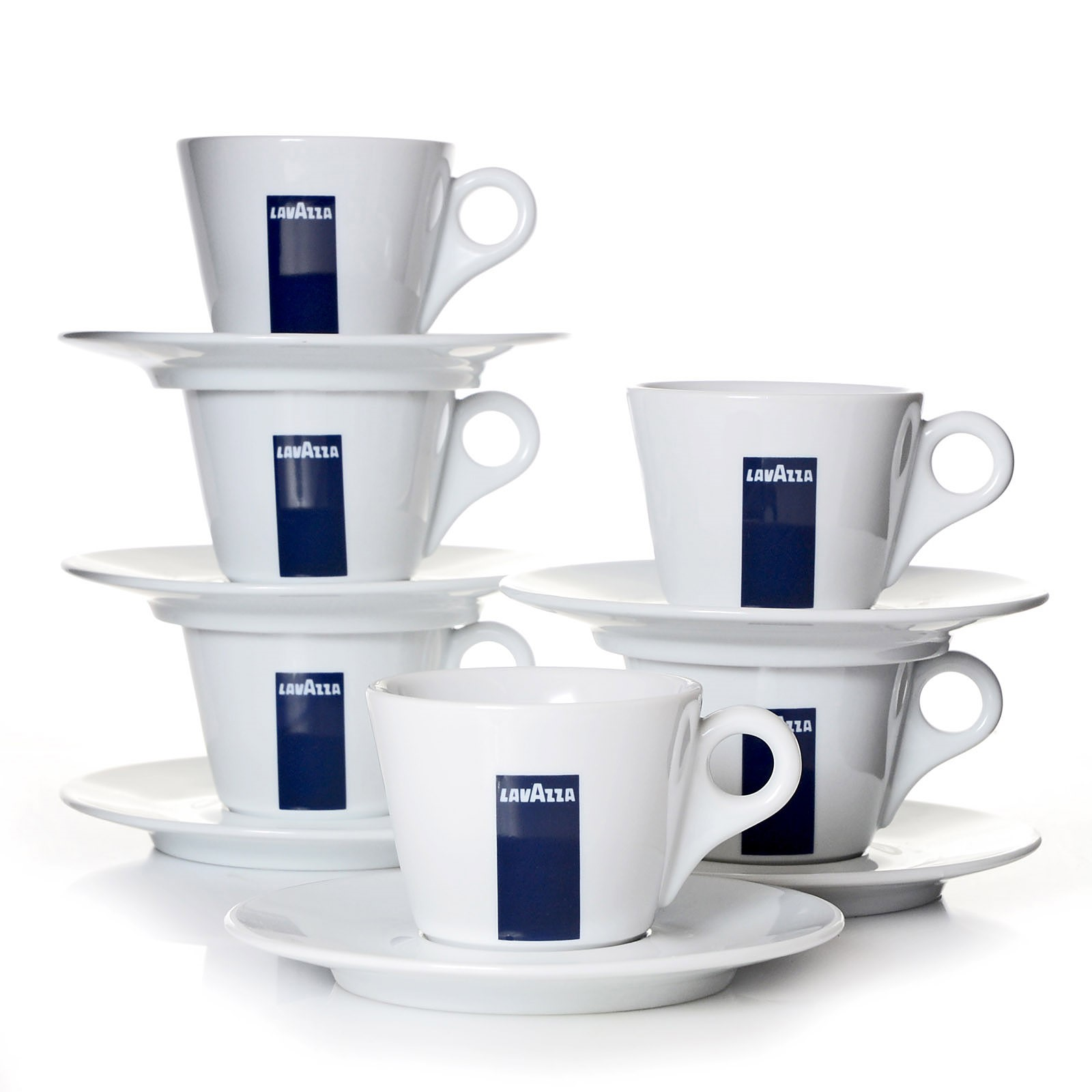 lavazza cappuccinotassen kaffee tassen mit untertassen blu collection 6er pack ebay. Black Bedroom Furniture Sets. Home Design Ideas