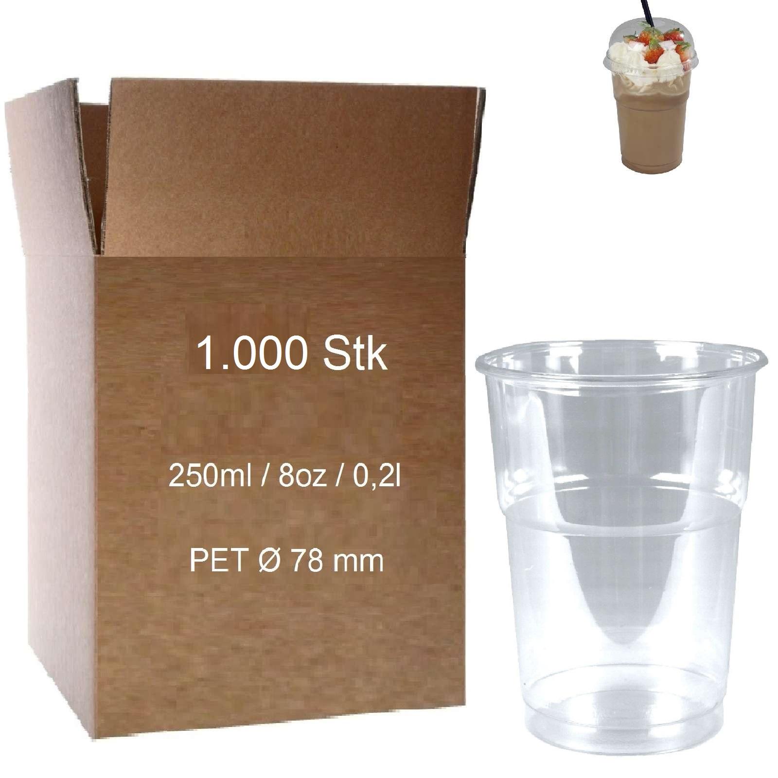 pet clear cups 10oz plastikbecher glasklar 0 25 l smoothies 1000 becher 78 mm ebay. Black Bedroom Furniture Sets. Home Design Ideas
