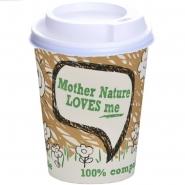300 BIO Kaffeebecher PLA 36 cl mit Deckel Kompostierbar