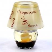Kerze Glaslampe Lattee Macchiato mit Teelichte 8x 14 cm