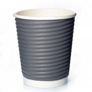 50 Ripple Wrap Cups 12oz Grau Pappbecher 0,3l