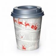 Coffee to go Becher 24cl Rentier 0,2l mit Deckel Silber 200 Stk.