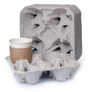 Bechertabletts 180 Tragetabletts 4er Papierfaser