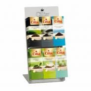 Cilia Teedisplay Edelstahl + 6er Tee Sortimentskarton