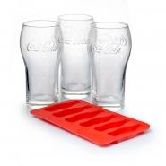 3 Coca Cola Gläser 37 cl mit Eiswürfelbereiter Flaschenform