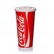 Coca Cola Becher rot Pappbecher mit Deckel Kreuzschlitz 500 - 600 ml, 200 Stk.