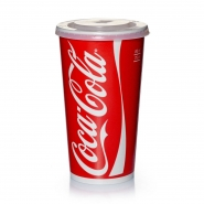 200 Coca Cola Becher 0,75 l / 0,8 l mit Deckel Kreuzschlitz