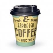200 Coffee to go Pappbecher 0,2 l fresh mit Deckel Schwarz