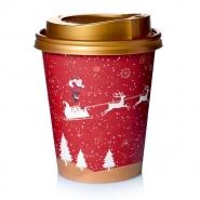 Coffee to go Becher 24cl Pappbecher Rentier mit Deckel gold 200 Stk