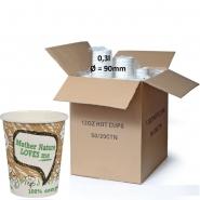 PLA Kaffeebecher 36cl Bio Pappbecher Mother Nature 1000 Stück