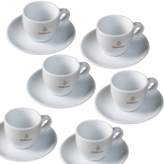 Dallmayr Espressotassen mit Untertasse 0,08l komplett 6er Pack
