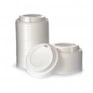 100 Deckel für Pappbecher Ø90 mm 0,3 / 0,4 l Weiss