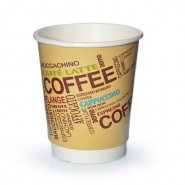 Doppelwandige Pappbecher 24cl Einwegbecher Coffee Design 0,2l Becher 25 Stk.