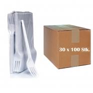 Plastikgabeln 16,5 cm Einwegbesteck 30 x 100 Stk.