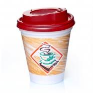 Styroporbecher 0,2l Thermobecher Kaffeetasse 200 Stk. mit Deckel rot