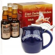 3 Feuerzangentassen Blau mit Bowle, Rum + Zimt-Zuckerhütchen