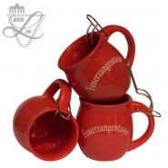 Feuerzangentasse 0,2l Terrakotta Rote Keramik mit Zange