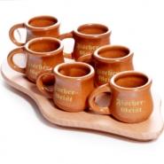 Fischergeist Servierbrett Tablett mit 6 Keramik-Krügen
