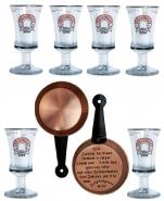 Friesengeist Sechs Gläser mit Löschpfanne
