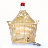 Glasballon 10 Liter mit Auslaufhahn und Kunststoffkorb Beige