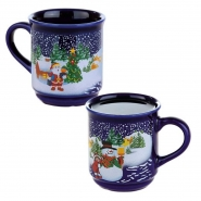 48 x Glühweinbecher Glühweintassen Weihnachten Blau 0,2 l, ohne Füllstrich