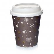 200 Coffee to go Pappbecher 0,2l Kristall mit Deckel weiss