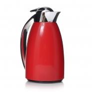 Isolierkanne 1 Liter Rot Chrom mit doppelwandigem Glaseinsatz