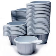 50 Kaffeetassen Plastik 180 ml mit Henkel Silber