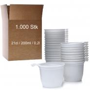 1000 Kaffeetassen Plastik weiß mit Henkel 0,2l