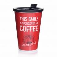 Mehrweg Kaffeebecher rot mit to go- Mehrweg-Trinkdeckel 400 ml