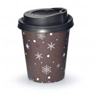 Coffee to go Becher 24cl Kristalle 0,2l mit Deckel Schwarz 200 Stk.