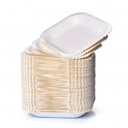 Pappteller eckig 16 x 19 x 3 cm, weiß beschichtet 100 Einweg-Schalen