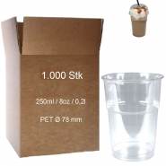 Trinkbecher PET 0,25l glasklar Plastikbecher 1000 Clear Cups