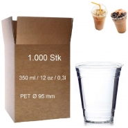Trinkbecher PET 0,3 l glasklar 12oz, 1000 Clear Cups