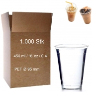 Trinkbecher PET 0,4 l glasklar Plastikbecher 1000 Clear Cups