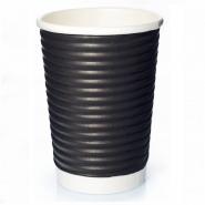 50 Ripple Wrap Cups Schwarz 14oz Coffee to go Becher