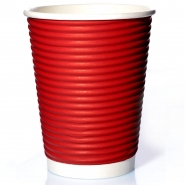 50 Ripple Wrap Cups Rot 14oz Coffee to go Becher geriffelt