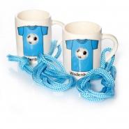 Schnaps Glas mit Henkel 2 cl Keramik Fußball Stamper Blau