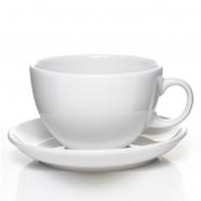 Milchkaffeetasse 1164 Toscana weiss uni mit Untertasse Seltmann Weiden