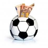 1 Spardose Fußball Weiß - Schwarz Ton H100 x Ø90mm