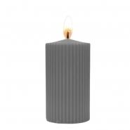 Stumpenkerze geriffelt grau 60 Stunden Brenndauer D 7 x H 12 cm