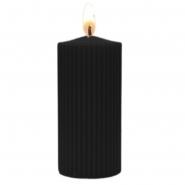 Stumpenkerze geriffelt Schwarz 90 Stunden Brenndauer 7 x 18 cm