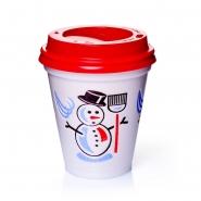 500 Thermobecher Styroporbecher Snowman 0,2l mit Deckel rot