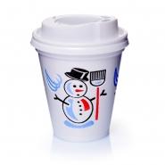 500 Thermobecher Styroporbecher Snowman 0,2l  Deckel weiß